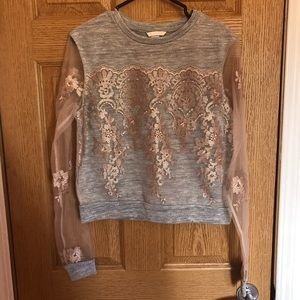 Sparkly Top with Sheer Sleeves and Embroidery
